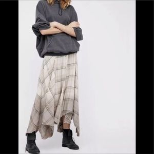Free People Dipped in Dreams plaid maxi skirt